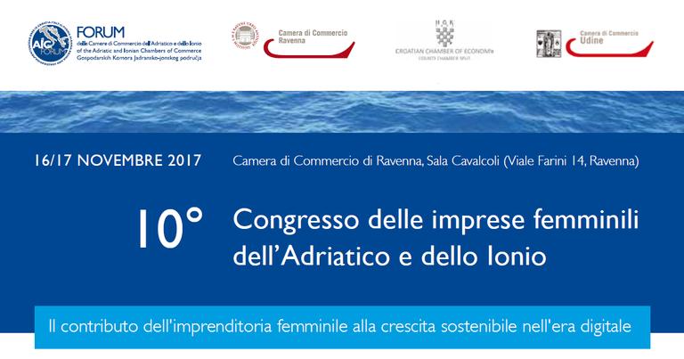 Banner 10 Congresso delle imprese femminili dell'Adriatico e dello Ionio