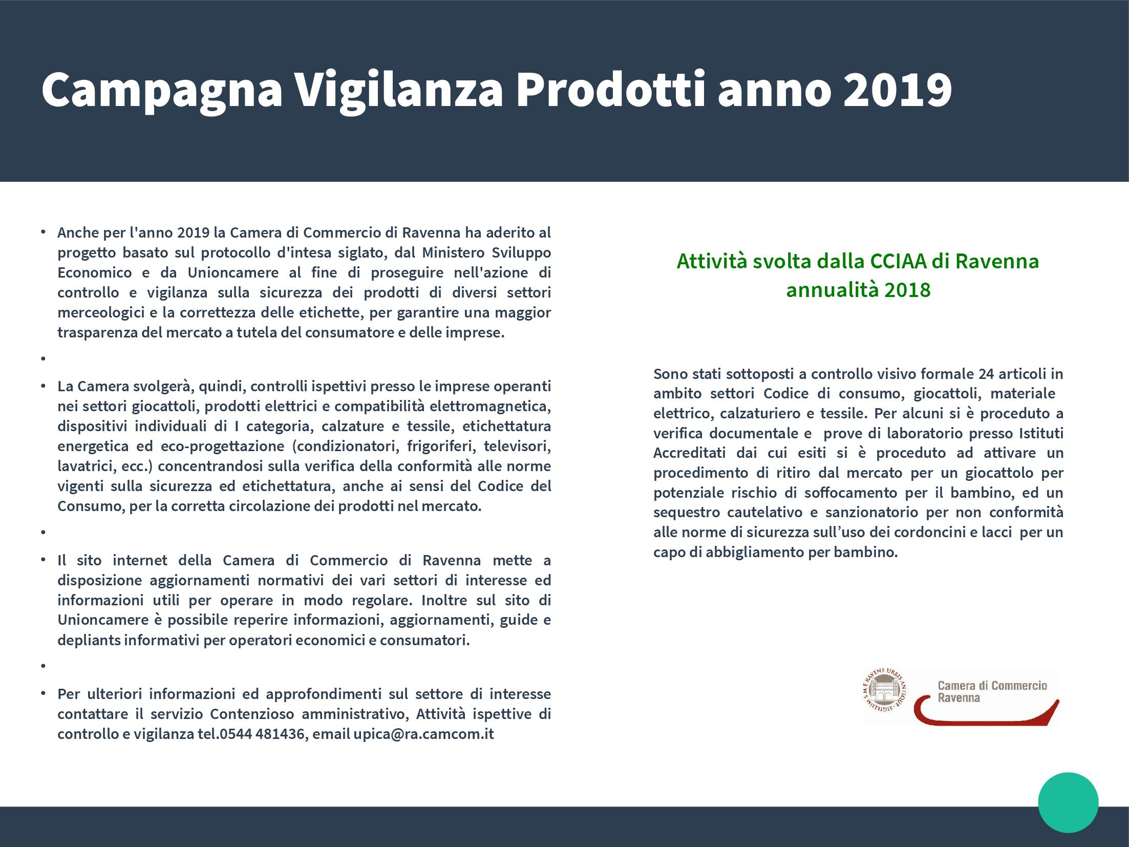 Campagna Vigilanza Prodotti annualità 2019