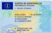 Fac simile carta controllo (fronte)