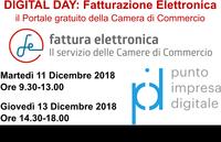 """DIGITAL DAY Fatturazione Elettronica """"il Portale gratuito della Camera di Commercio"""" 11 e 13 Dicembre 2018 - PID"""